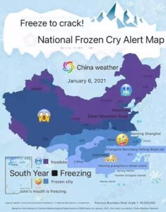 China cold snap 2021 Jan parody