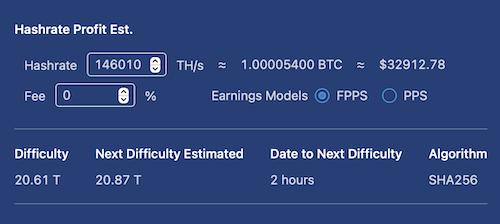BTC pool data to mine one bitcoin 23 jan 2021