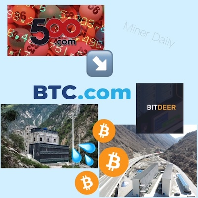 500.com acquired BTC.com, Bitdeer, and several hydro powered bitcoin mining farms in data centers in China.