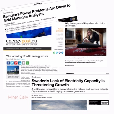 Swedish news outlets report an energy crisis is looming and people should vacuum less.