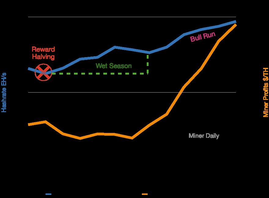 Bitcoin's hash rate versus miner profitability per terahash, 2020-2021. Hash follows price, not price follows hash.
