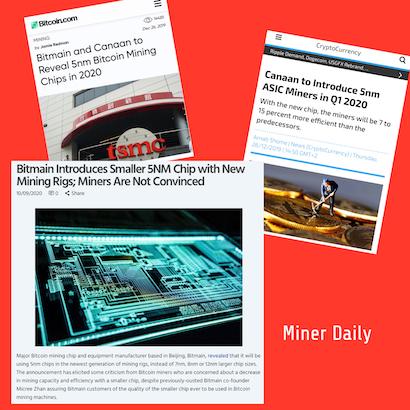 Canaan, MicroBT, Bitmain announce 5nm chip bitcoin mining machine in 2019.
